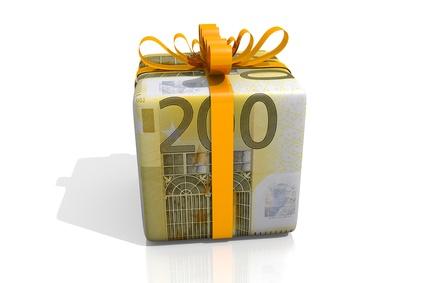 200 euro Geschenk - Schleife Gelb